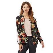 Black rose print bomber jacket