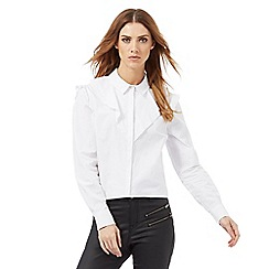 Nine by Savannah Miller - White cotton ruffle detail shirt