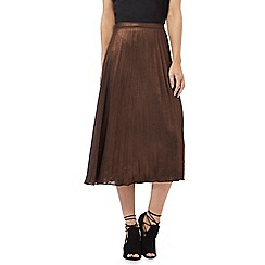 Nine by Savannah Miller - Bronze metallic pleated midi skirt