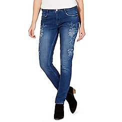 Nine by Savannah Miller - Blue embroidered slim leg jeans