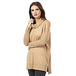Nine by Savannah Miller - Dark beige cold shoulder roll neck jumper