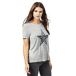 Nine by Savannah Miller - Grey sequined star t-shirt