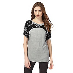 Nine by Savannah Miller - Grey sequin embellished top