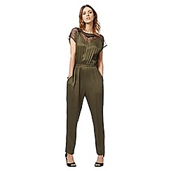 Nine by Savannah Miller - Dark green lace insert jumpsuit