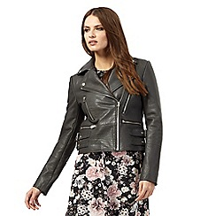 Nine by Savannah Miller - Dark grey leather biker jacket