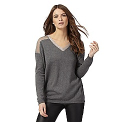Nine by Savannah Miller - Grey sheer yoke jumper