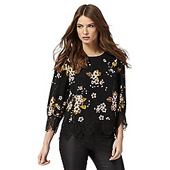 Nine by Savannah Miller - Black floral print top