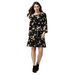 Nine by Savannah Miller - Black floral print wrap dress