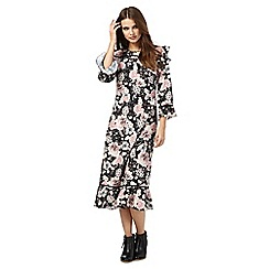 Nine by Savannah Miller - Black floral print midi dress