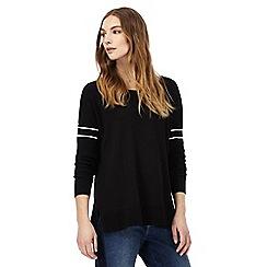 Nine by Savannah Miller - Black cross over back striped sleeved jumper