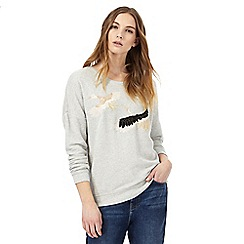 Nine by Savannah Miller - Grey embroidered crane sweater