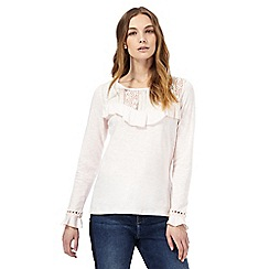 Nine by Savannah Miller - Light pink lace yoke top