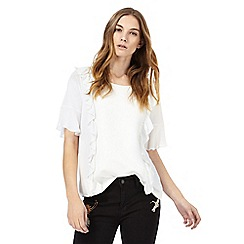 Nine by Savannah Miller - Ivory frill front textured top