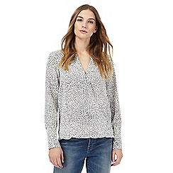 Nine by Savannah Miller - White polka dot print wrap front blouse