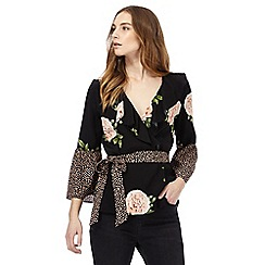 Nine by Savannah Miller - Black contrasting print blouse