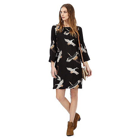 Nine by Savannah Miller - Black crane embroidered mini tunic dress