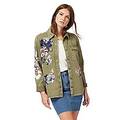 Nine by Savannah Miller - Khaki floral print utility jacket