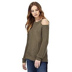 Nine by Savannah Miller - Khaki cold shoulder knitted jumper