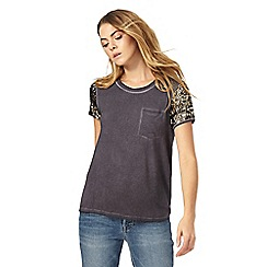 Nine by Savannah Miller - Grey sequin sleeve t-shirt