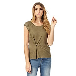 Nine by Savannah Miller - Khaki twist front t-shirt
