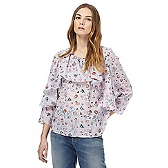 Nine by Savannah Miller - Light pink floral print ruffle top