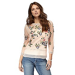 Nine by Savannah Miller - Light pink floral embellished top