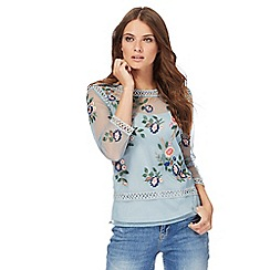 Nine by Savannah Miller - Light blue floral embroidered mesh top