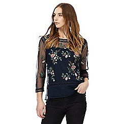 Nine by Savannah Miller - Navy floral embroidered top