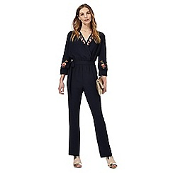 Nine by Savannah Miller - Navy floral embroidered jumpsuit