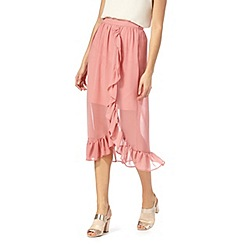 Nine by Savannah Miller - Pink frill wrap midi skirt