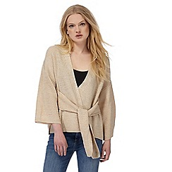 Nine by Savannah Miller - Beige knitted belted wrap cardigan