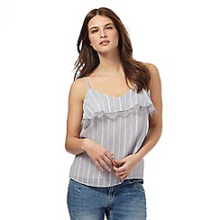 Nine by Savannah Miller - Pale grey striped lace camisole top