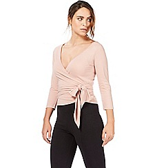Nine by Savannah Miller - Light pink wrap front top