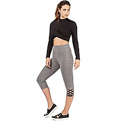 Nine by Savannah Miller - Grey lattice detail cropped leggings