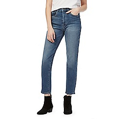 Nine by Savannah Miller - Blue mid-wash high-waisted straight denim jeans