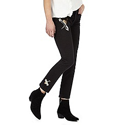 Nine by Savannah Miller - Black crane embroidered jeans