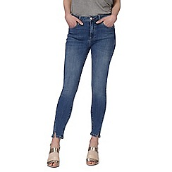 Nine by Savannah Miller - Blue mid wash skinny high waisted ankle grazer jeans
