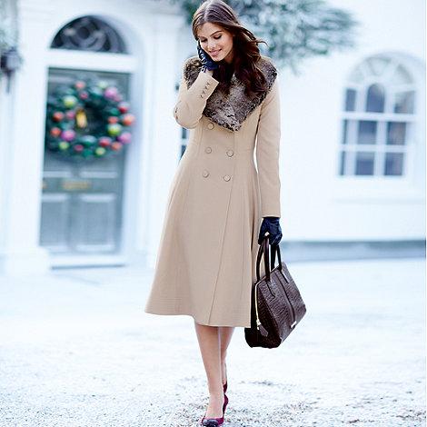 J by Jasper Conran - Designer beige faux fur trim coat