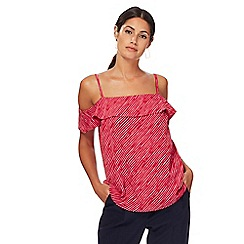 J by Jasper Conran - Dark pink striped frilled neck camisole top
