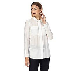 J by Jasper Conran - Ivory textured trim shirt