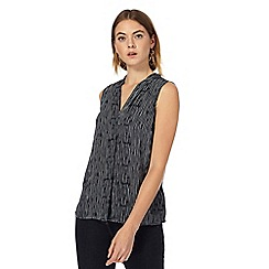 J by Jasper Conran - Navy striped V neck sleeveless top