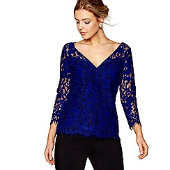 J by Jasper Conran - Blue lace V-neck top