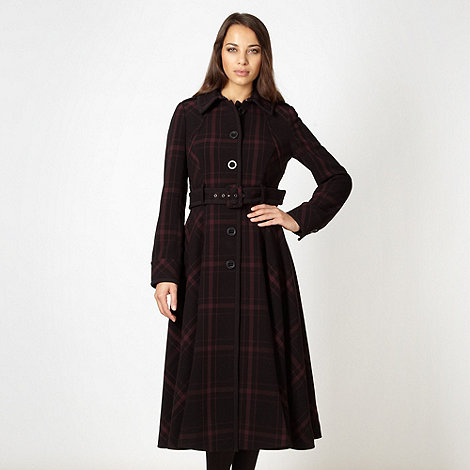 J by Jasper Conran - Designer wine checked fit and flare coat