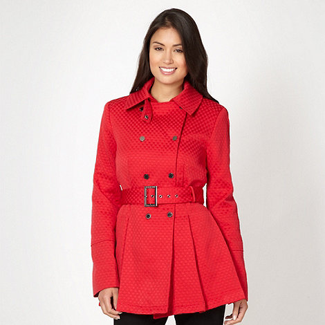 J by Jasper Conran - Designer red jacquard check coat