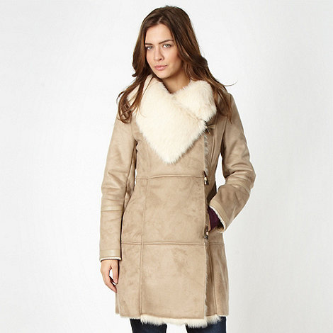 J by Jasper Conran - Designer beige faux fur lined coat