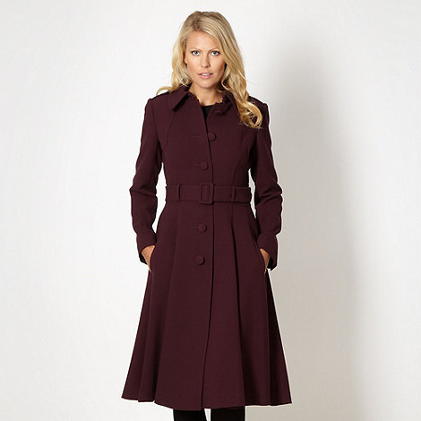 J by Jasper Conran - Designer dark purple winter berry button crepe coat