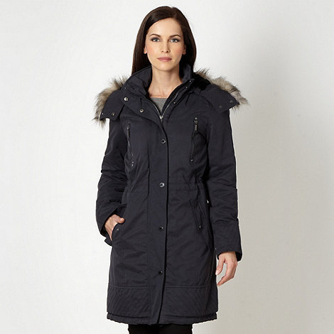 J by Jasper Conran - Designer navy quilted faux fur trim parka coat