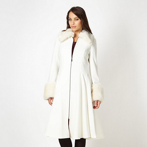 J by Jasper Conran - Designer white faux fur collar and cuff coat