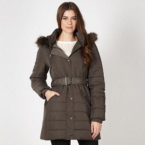 J by Jasper Conran - Designer khaki padded faux fur coat