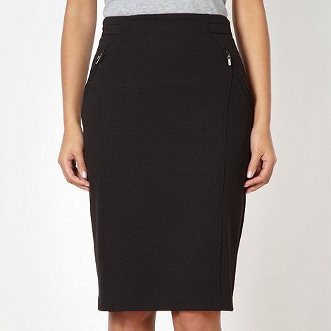 J by Jasper Conran - Designer black zip detail pencil skirt